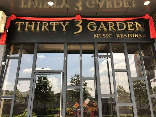 thirty 3 garden -3d box up lettering(gold stainless steel/Aluminium/stainless steel
