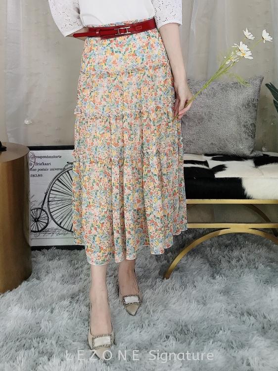 20058 Floral Flutter Hem Skirt
