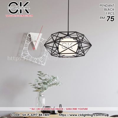 CK LIGHTING PENDANT SINGLE BLACK 1 PCS (SX-P-3297-BK+WH)