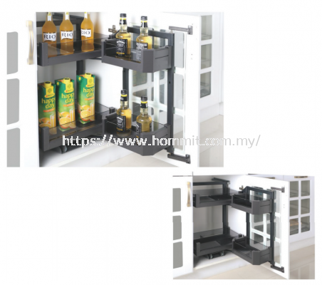 Aluminum Alloy Glass Bottom Cabinet Moving Basket