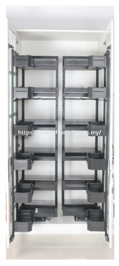 Aluminum Alloy Glass High Cabinet Connected To The Basket
