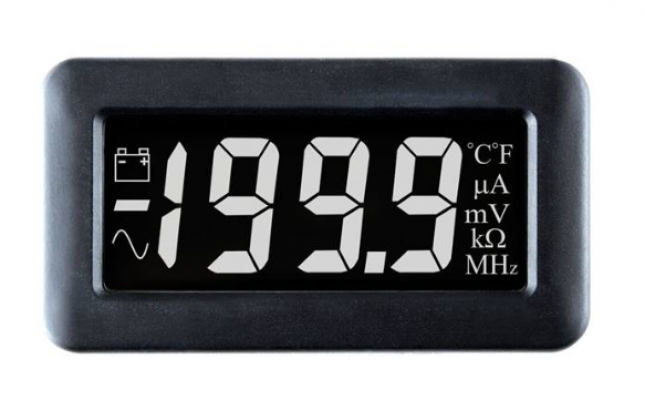 LASCAR DPM 750S-EB-W LCD Voltmeter with White Digits on a Black Background