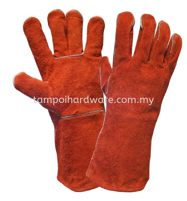 "13"" Full Leather Glove Red Colour Hand Protections Personal Protective Equipments"