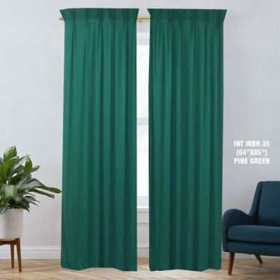 "1 SET CURTAIN INTERLOCKBR PINE GREEN (60""X85"") (2PCS)"