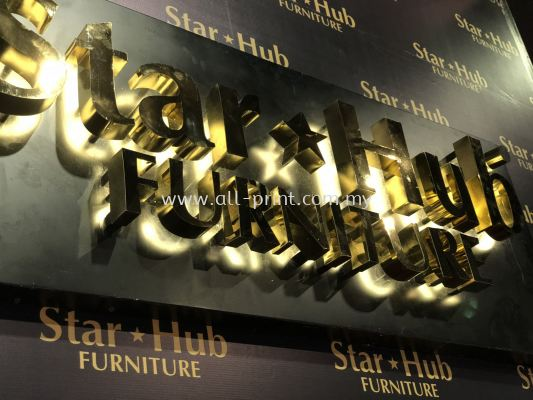 star Hub furtniture- Gold Stainless Steel 3d Box Up Lettering Signage