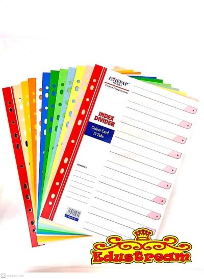 FINEPAP ASST COLOUR CARD INDEX DIVIDER ( 5 / 10 TABS )