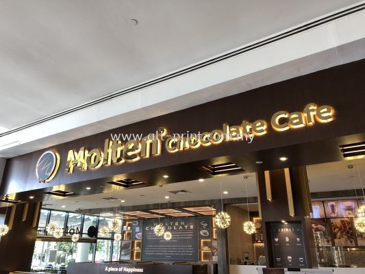 molten chocolate cafe -3d box up lettering signage