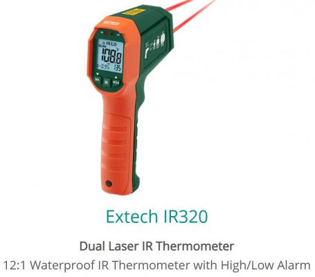 Extech IR320 Waterproof Dual Laser Infrared Thermometer with High Low Alarm