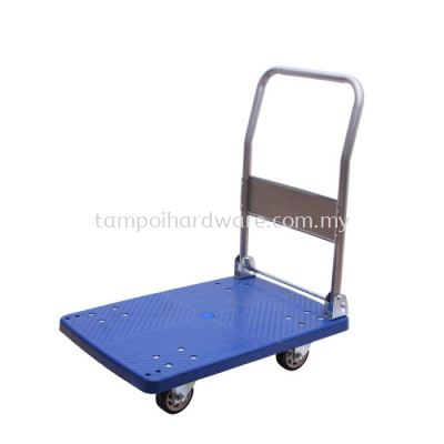Foldable Hand Trolley 4 Wheel Plastic Platform 150kg