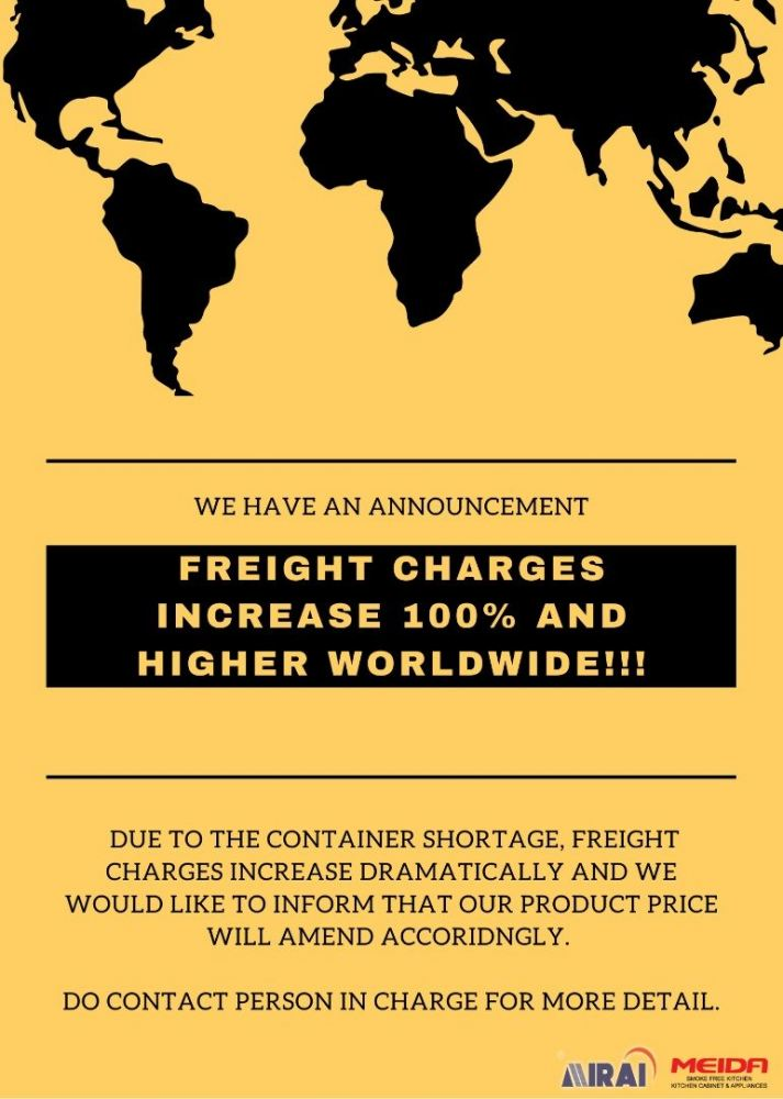 Freight Charges Increase 100% and Higher Worldwide!