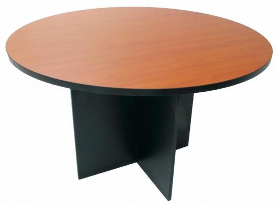 Round discussion table with dark grey wooden leg
