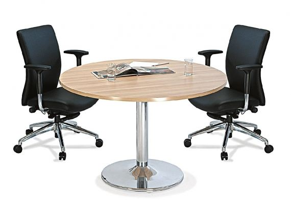 Round meeting table with chrome drum leg