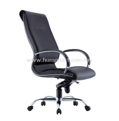 TORIO 1 DIRECTOR HIGH BACK LEATHER CHAIR C/W CHROME METAL BASE