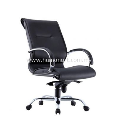 TORIO 1 DIRECTOR MEDIUM BACK LEATHER CHAIR C/W CHROME METAL BASE