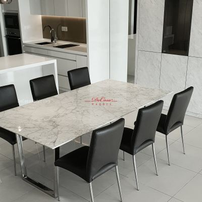 Luxury White Marble Dining Table | Stain Free