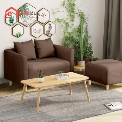 Lazzo 616 Canvas Fabric Sofa Living Room 2 Seater Designer Sofa With Solid wood Leg