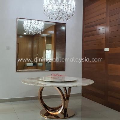 Elegant Round White Marble Dining Table | Stain Free | Volakas