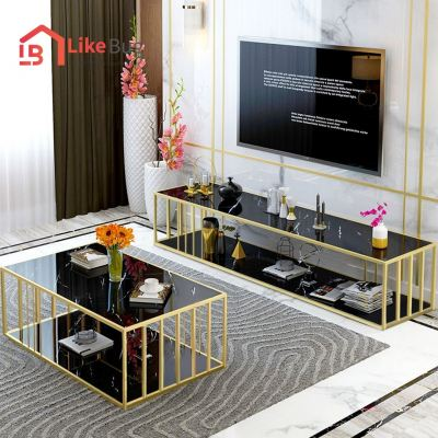Montel Gold Metal Frame TV Cabinet + Coffee Table Set with Marble Texture Table Top