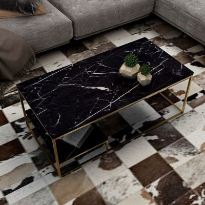 ARGON Marble Texture Modern Rectangle Coffee Table
