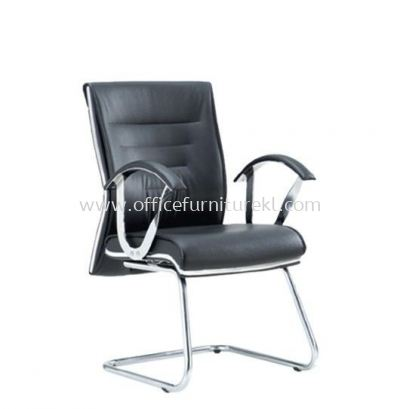 BAROS DIRECTOR VISITOR LEATHER CHAIR C/W CHROME TRIMMING LINE