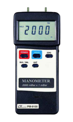 LUTRON PM-9100 Manometer, 2000 mbar, differential input