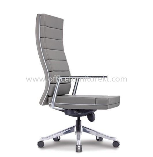 DIANTHUS DIRECTOR HIGH BACK LEATHER CHAIR C/W ALUMINIUM ROCKET DIE-CAST BASE