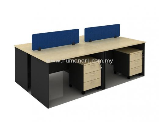 OPEN CONCEPT 4 CLUSTER WORKSTATION C/W FABRIC SOLID DESKING PANEL