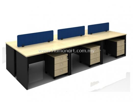OPEN CONCEPT 6 CLUSTER WORKSTATION C/W FABRIC SOLID DESKING PANEL