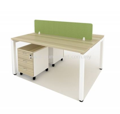 "OPEN CONCEPT 2 CLUSTER WORKSTATION C/W FABRIC SOLID DESKING PANEL & METAL ""N"" LEG"
