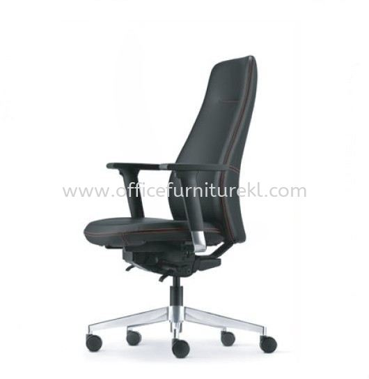 EVE DIRECTOR MEDIUM BACK LEATHER CHAIR WITH ALUMINIUM BASE AND ALUMINIUM ADJUSTABLE ARMREST AEV 6411L-D