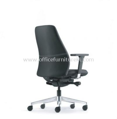 EVE DIRECTOR LOW BACK LEATHER CHAIR WITH ALUMINIUM BASE AND ALUMINIUM ADJUSTABLE ARMREST AEV 6412L-D