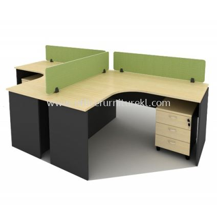 OPEN CONCEPT 2 CLUSTER WORKSTATION C/W FABRIC SOLID DESKING PANEL