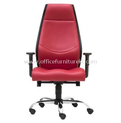 LUTON DIRECTOR HIGH BACK LEATHER CHAIR C/W CHROME METAL BASE