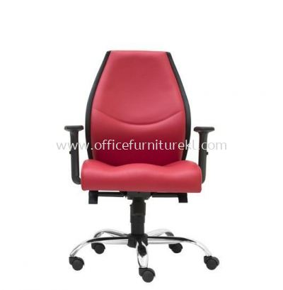 LUTON DIRECTOR LOW BACK LEATHER CHAIR C/W CHROME METAL BASE