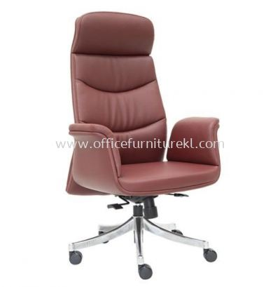 OXFORD DIRECTOR HIGH BACK LEATHER CHAIR C/W ROCKET ALUMINIUM BASE