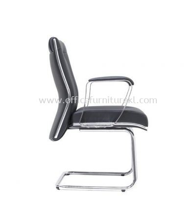 SEDIA DIRECTOR VISITOR LEATHER CHAIR WITH CHROME TRIMMING LINE