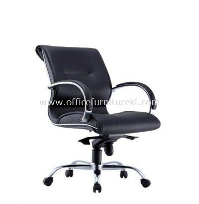 TORIO 1 LOW BACK LEATHER CHAIR C/W METAL CHROME BASE