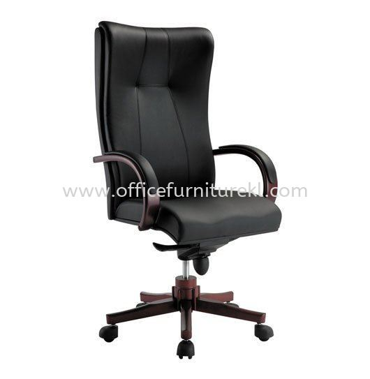 CORE DIRECTOR HIGH BACK LEATHER CHAIR WITH RUBBER-WOOD WOODEN BASE