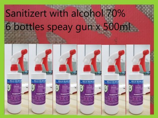 Sanitizer with alcohol 70% with spray gun 6 bottles