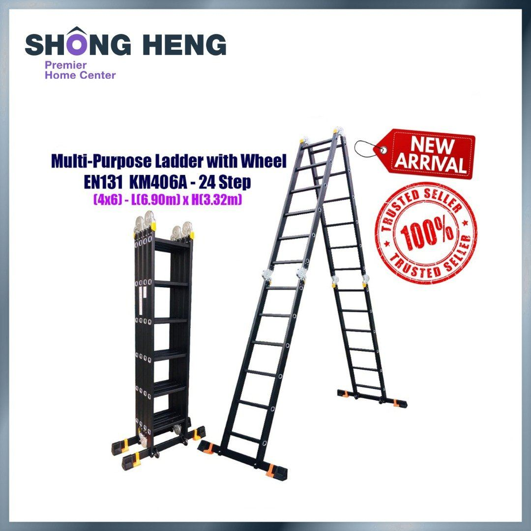 ALUMINIUM MULTI-PURPOSE LADDER EN131-KM406A WITH WHEEL (BLACK) - 24 STEPS