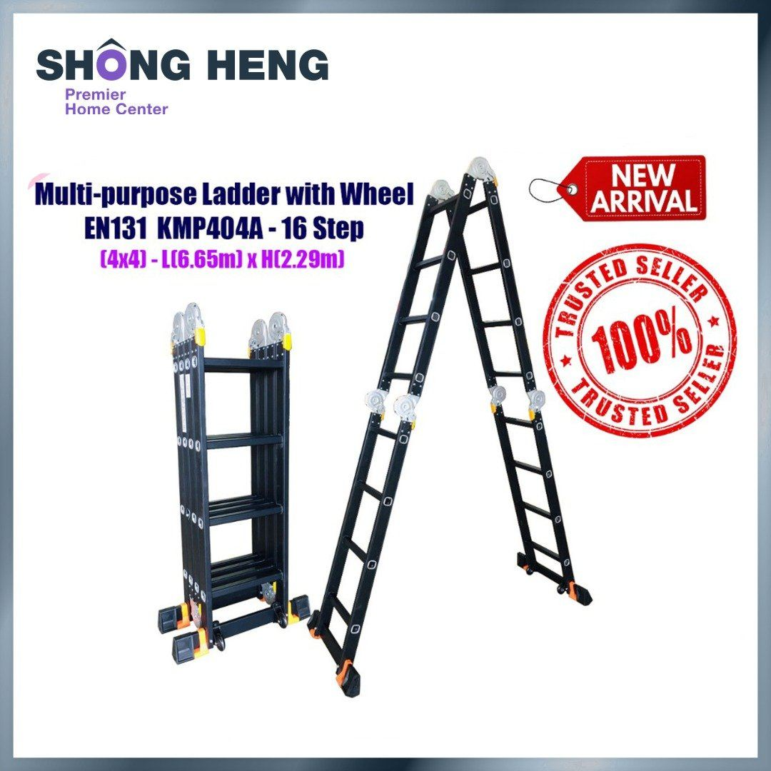 ALUMINIUM MULTI-PURPOSE LADDER EN131-KM404A WITH WHEEL (BLACK) - 16 STEPS