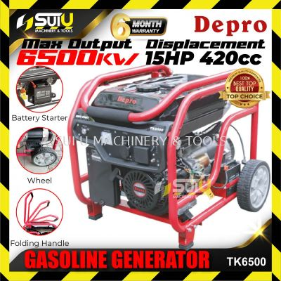 DEPRO TK6500 6.5KVA (6500Watt) Gasoline generator with Electric Start, Handle & Wheel