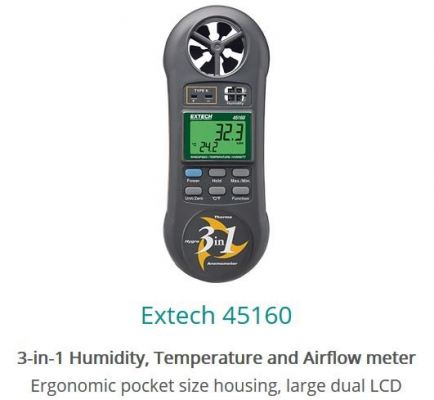 Extech 45160 3in1 Humidity Temperature and Airflow Meter