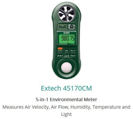 Extech 45170CM 5in1 Environmental Meter Air Velocity Air Flow Humidity Temperature Light