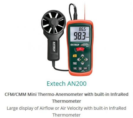 Extech AN200 CFM CMM Mini Thermo-Anemometer with built-in InfraRed Thermometer