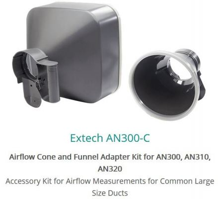 Extech AN300-C Airflow Cone and Funnel Adapter Kit For AN300 AN310 AN320