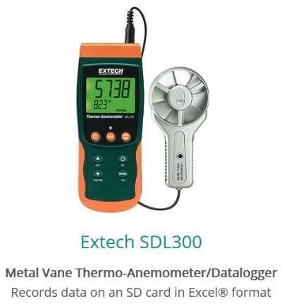 Extech SDL300 Metal Vane Thermo-Anemometer Datalogger