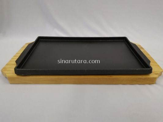 FHF-SMHFXL 30*17.5*1.4cm Rect Iron Plate with Wooder Tray