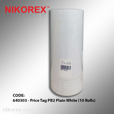 640303 - Price Tag PB2 Plain White (10 Rolls)