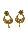 TRADITIONAL GOLD - PLATED LONG PEARL KUNDAN ETHNIC ANTIQUE EARRINGS Earrings Jewellery